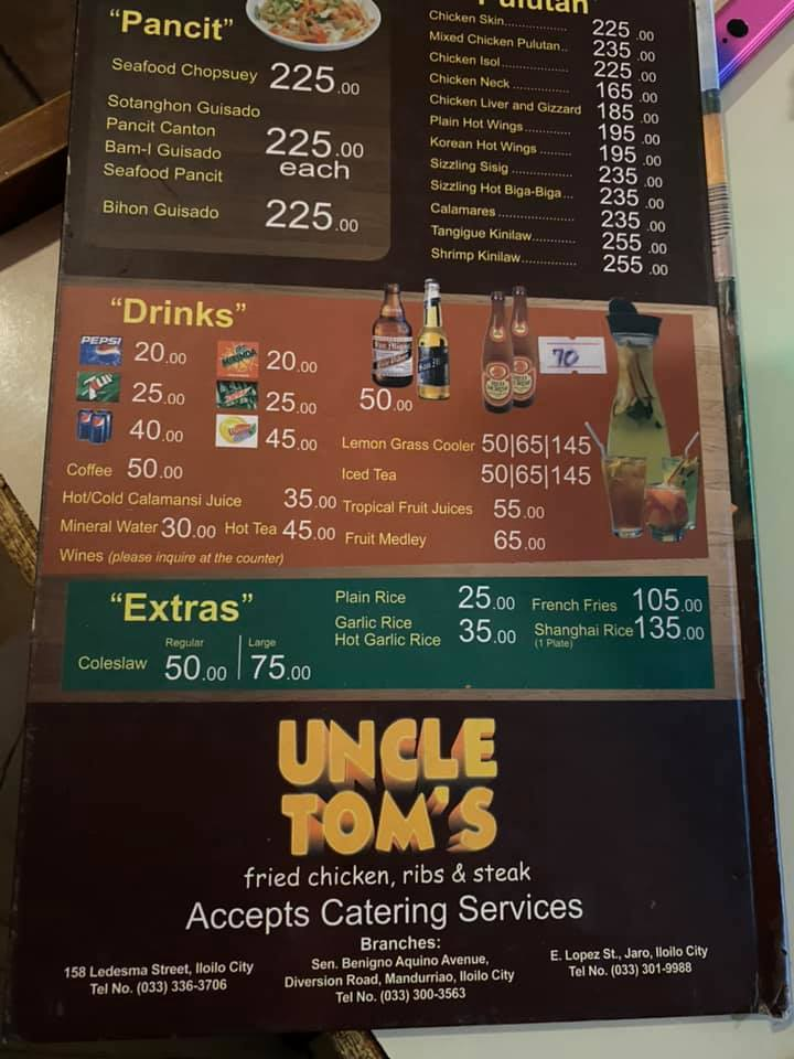 Uncle Toms Menu Pancit