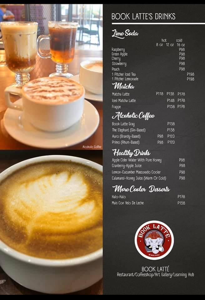 book latte drinks menu