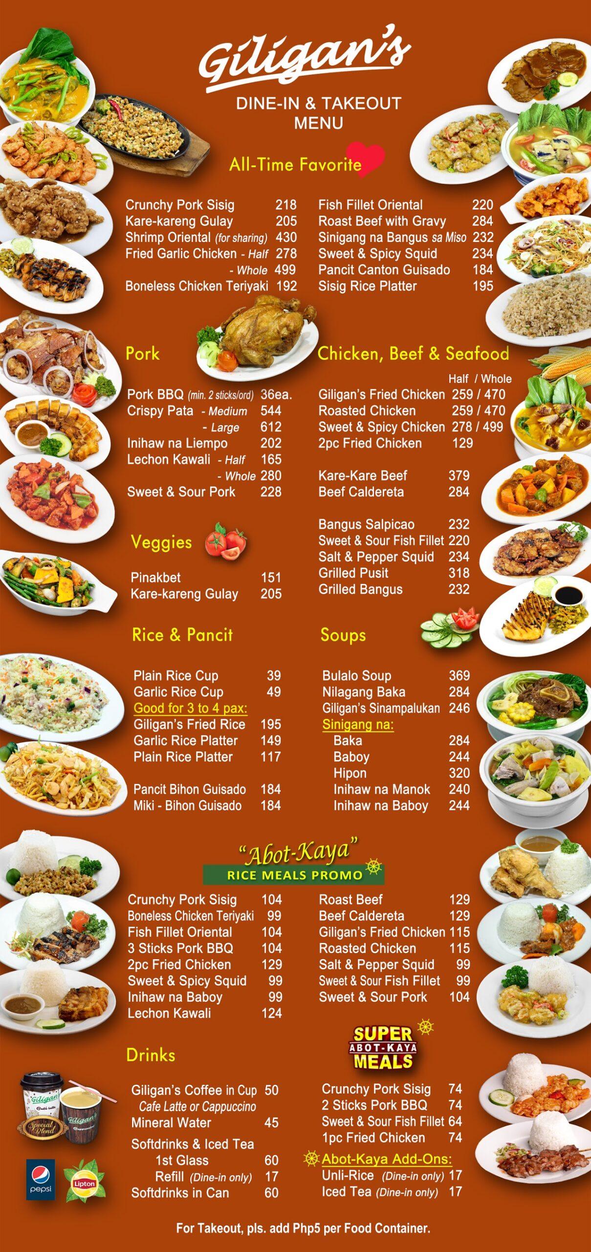 giligans menu
