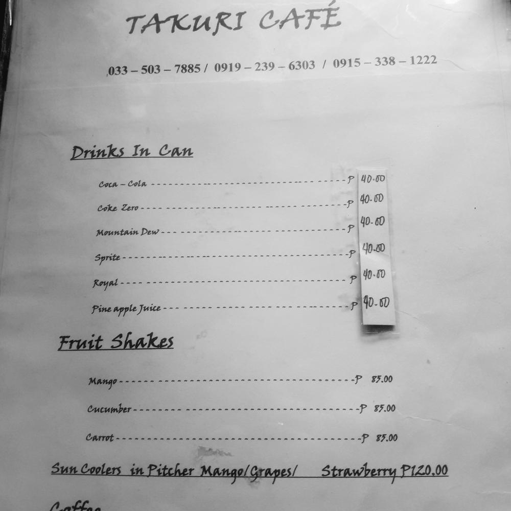 takuri cafe menu drinks
