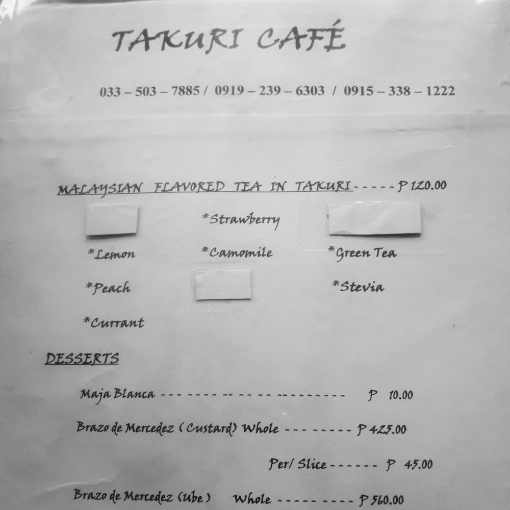 takuri cafe menu tea