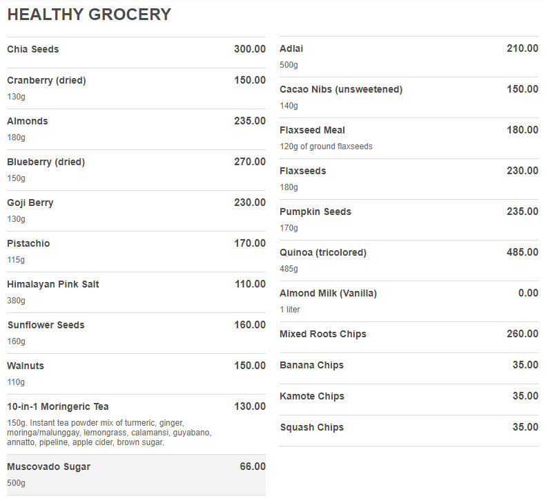 healthy kitchen grocery