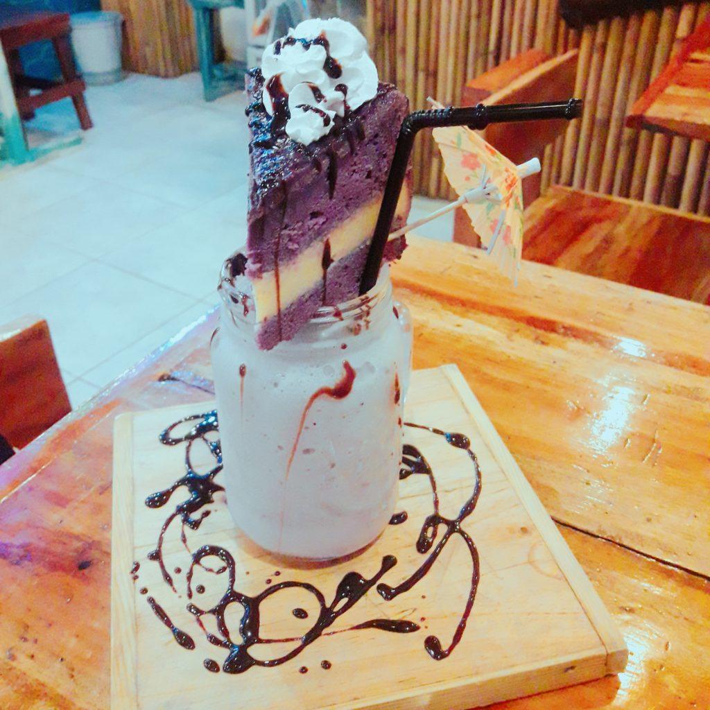 blueberry cheesecake with ube macapuno flan cake