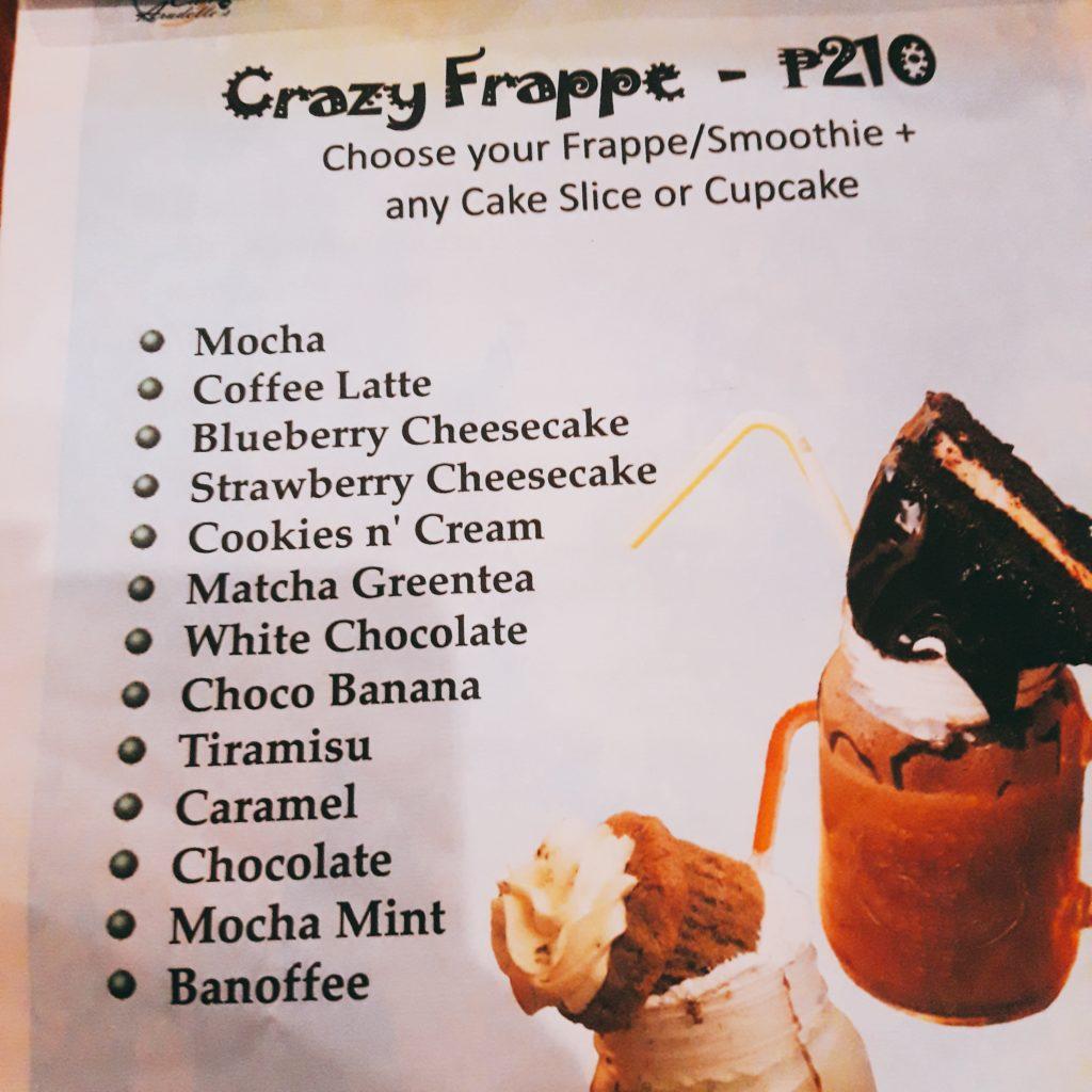 cafe aradelle's menu crazy frappe