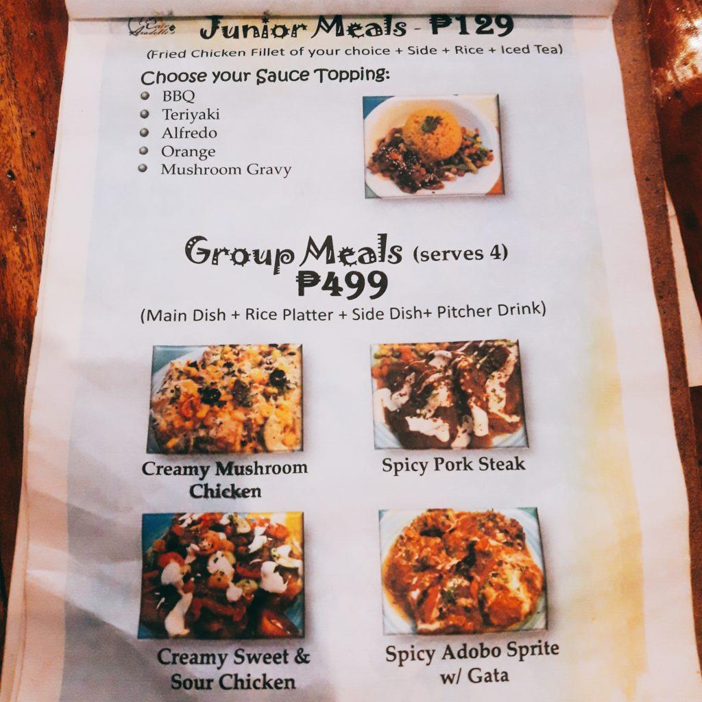 cafe aradelle's menu junior meals