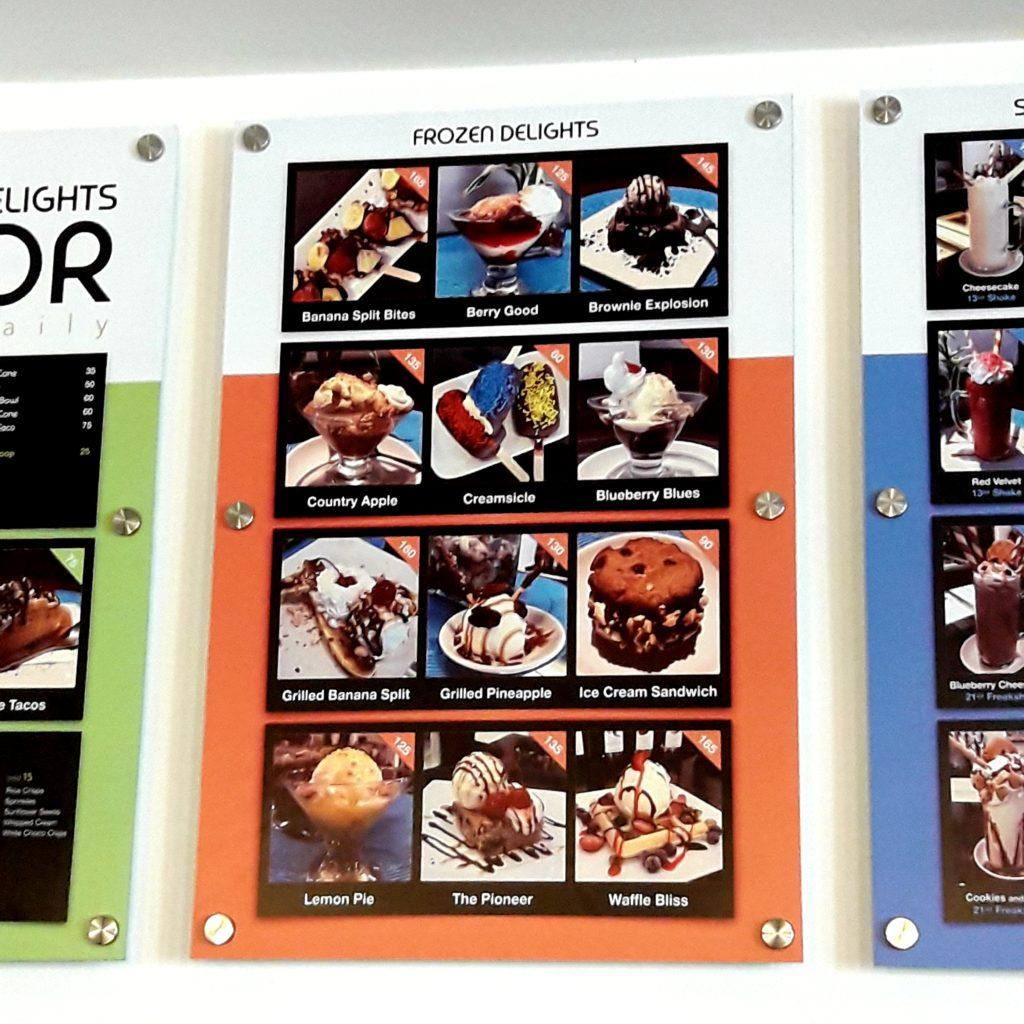 menu frozen delights