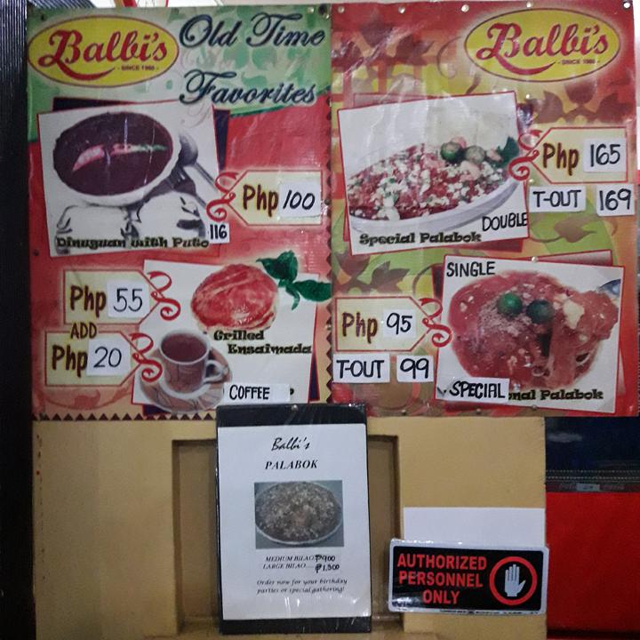 balbis menu