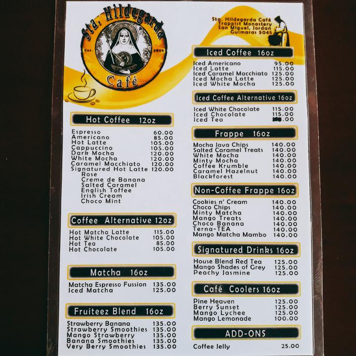 cafe sta. hildegarda menu
