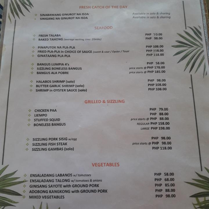 balay namit menu