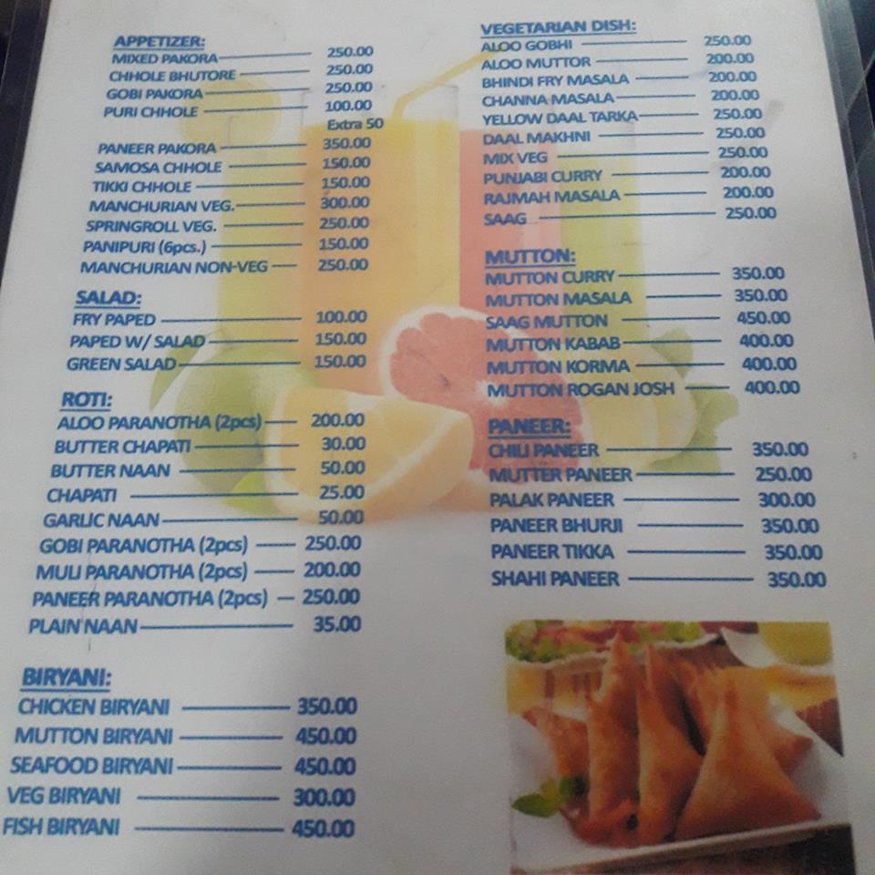 Menu FTI Indian Restaurant