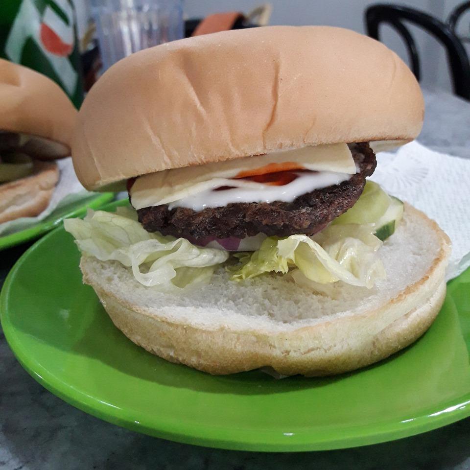burger at Glor's Hamburger and Broadway Cafe