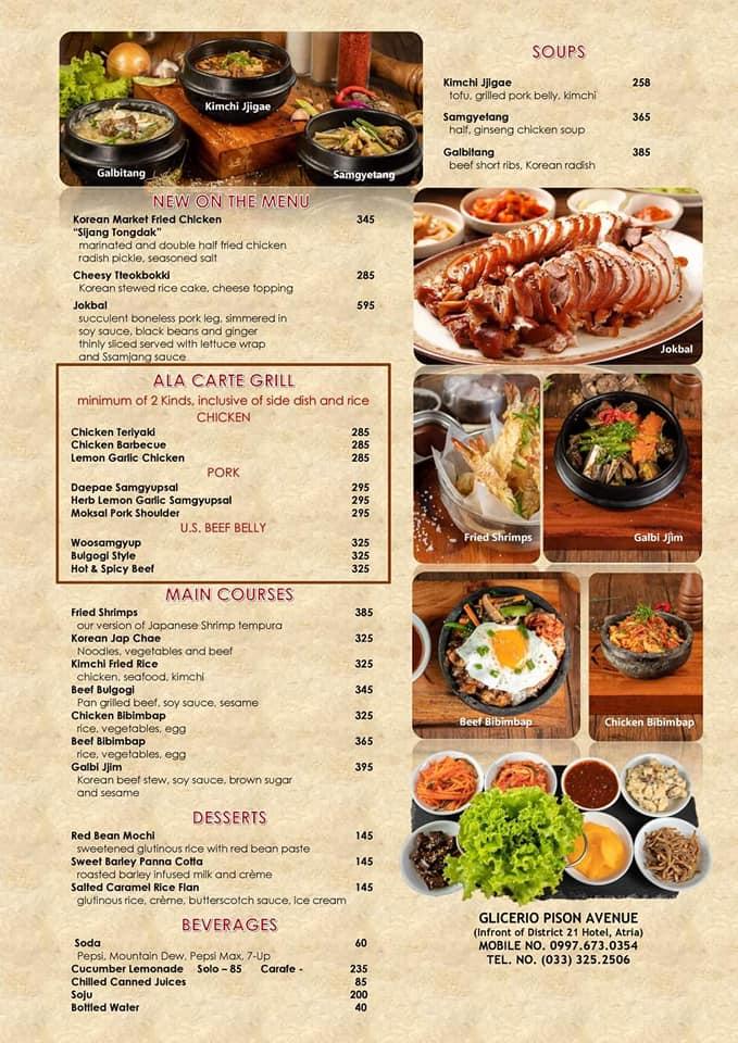 Yam Nam Korean Restaurant Menu