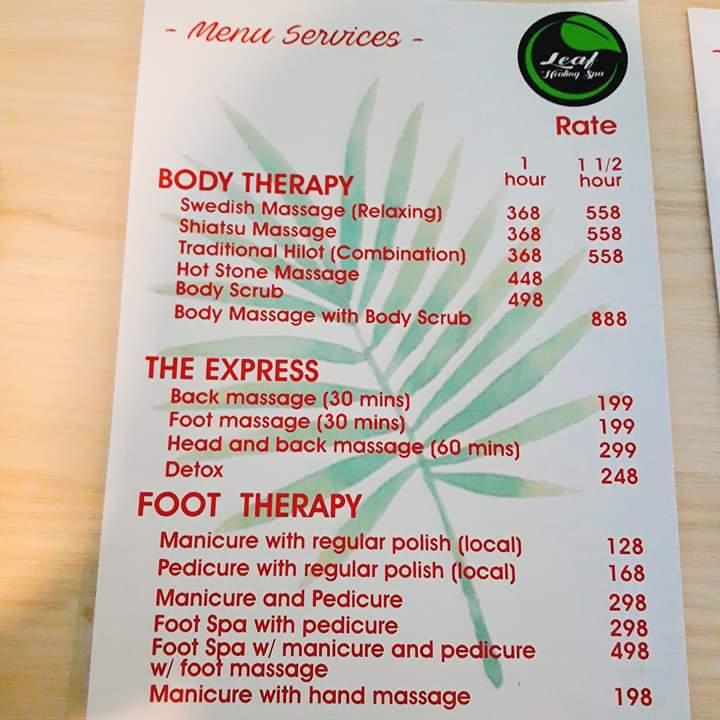 leaf healing spa menu
