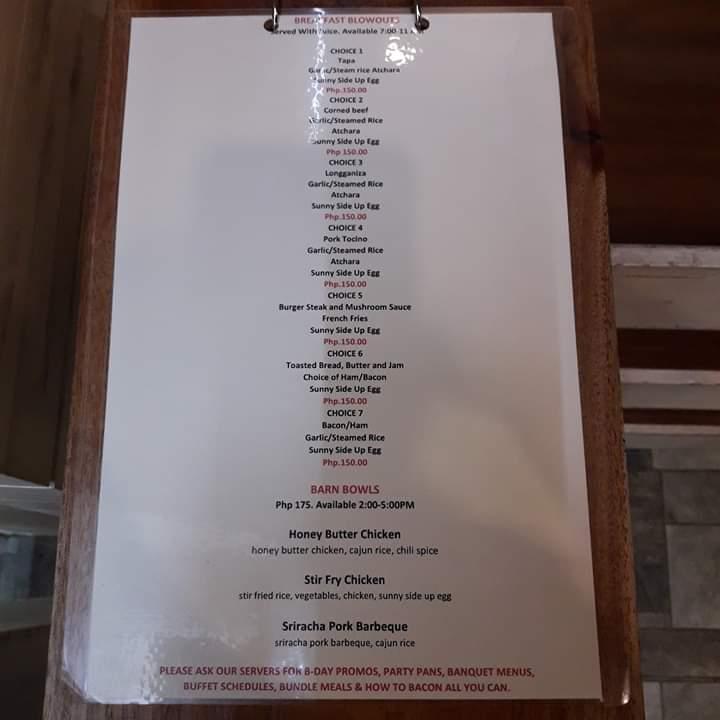 barn menu