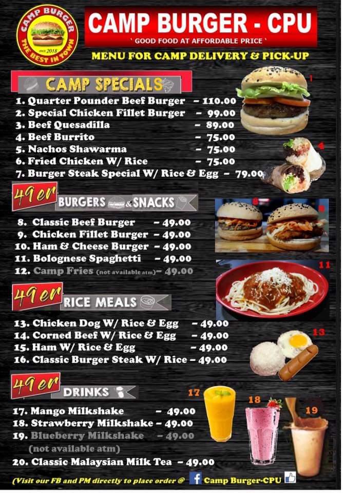 Camp Burger Menu