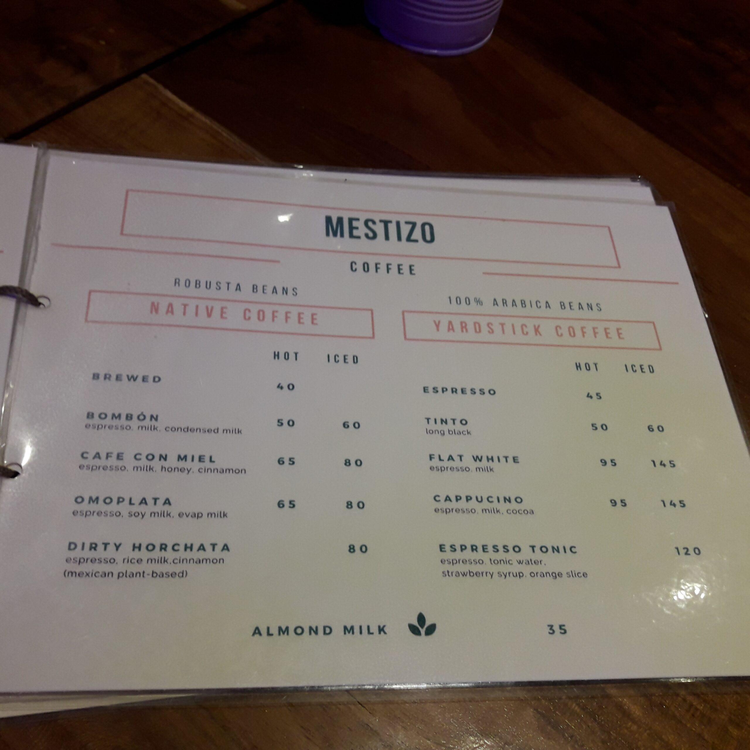 Mestizo menu coffee