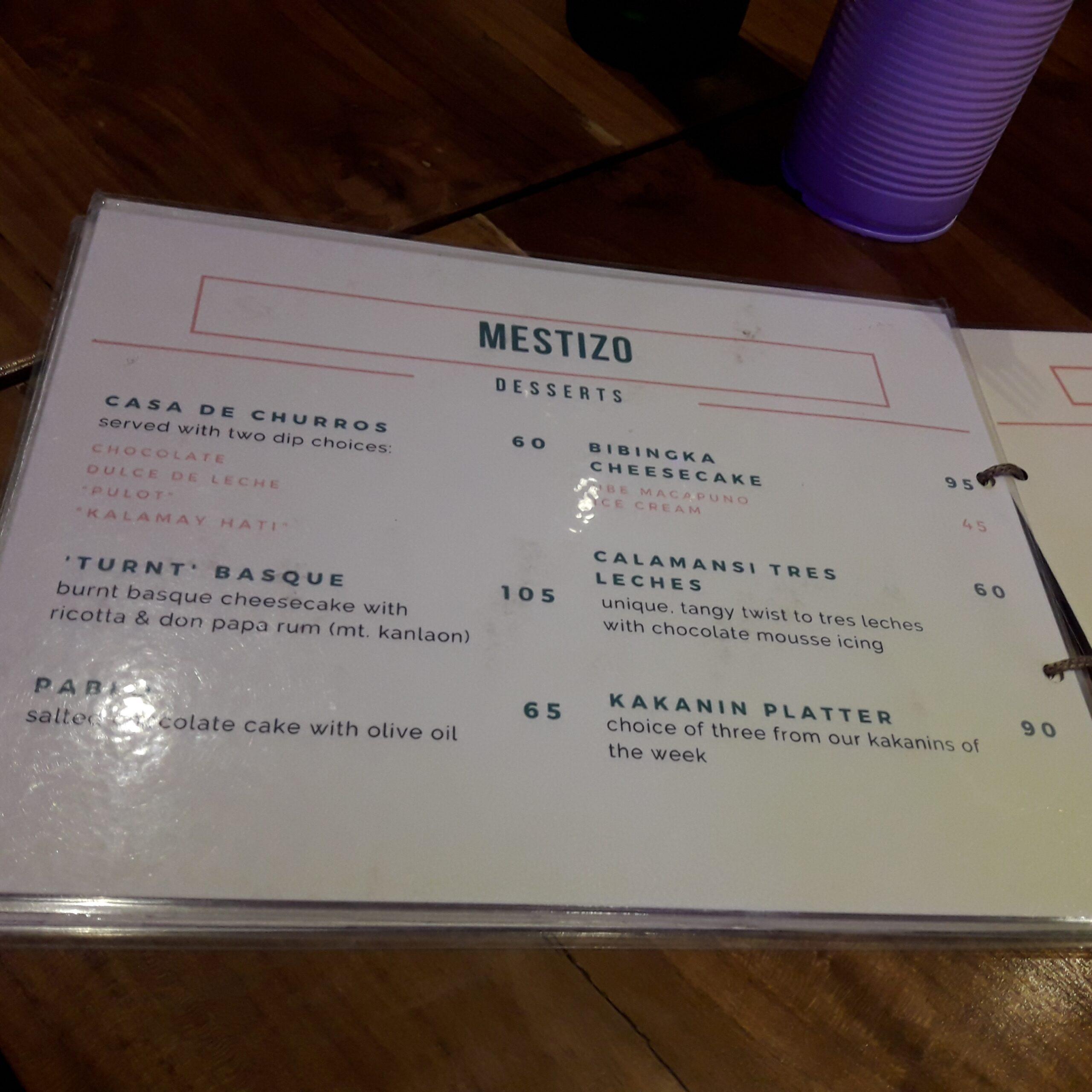 Mestizo menu dessert