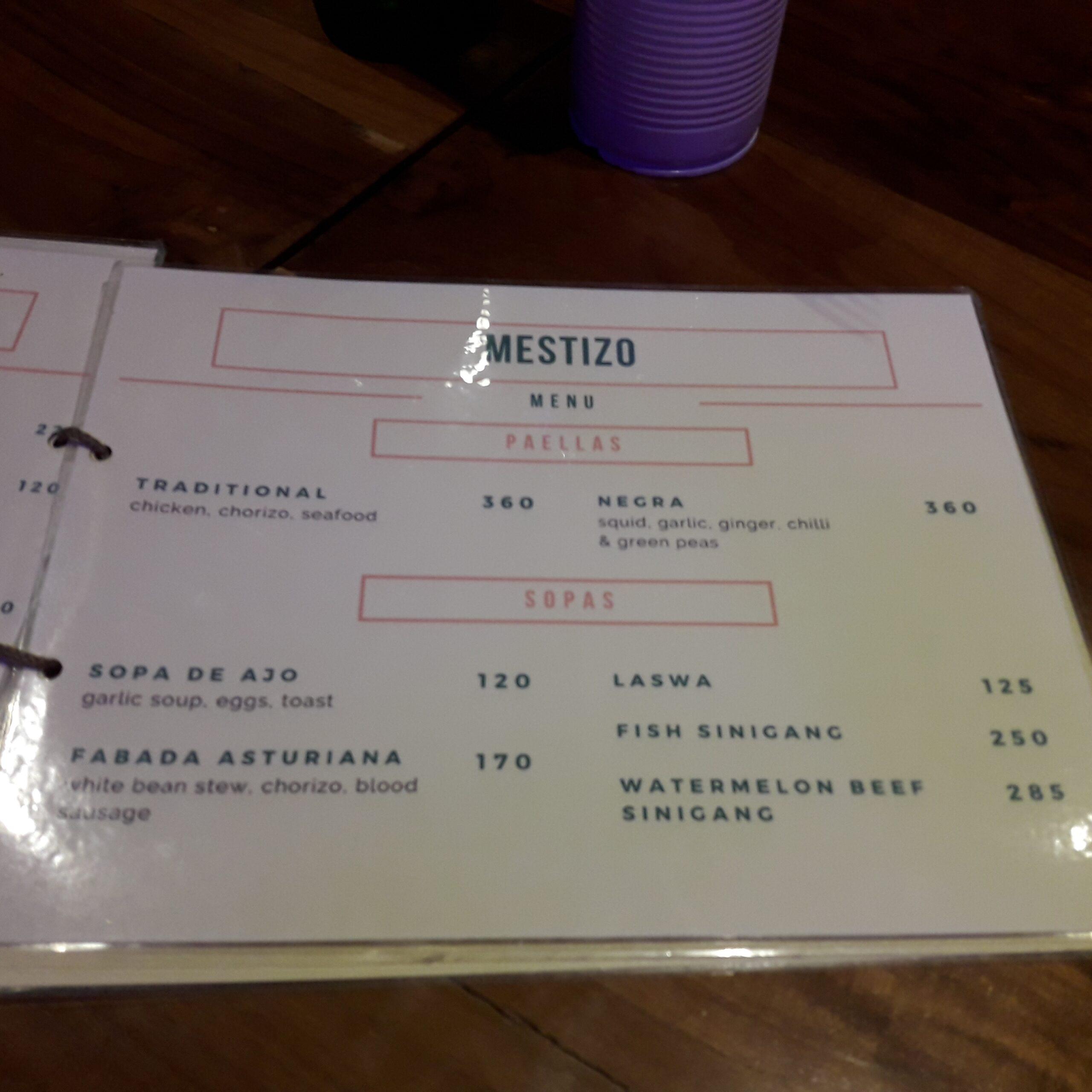 Mestizo menu paella