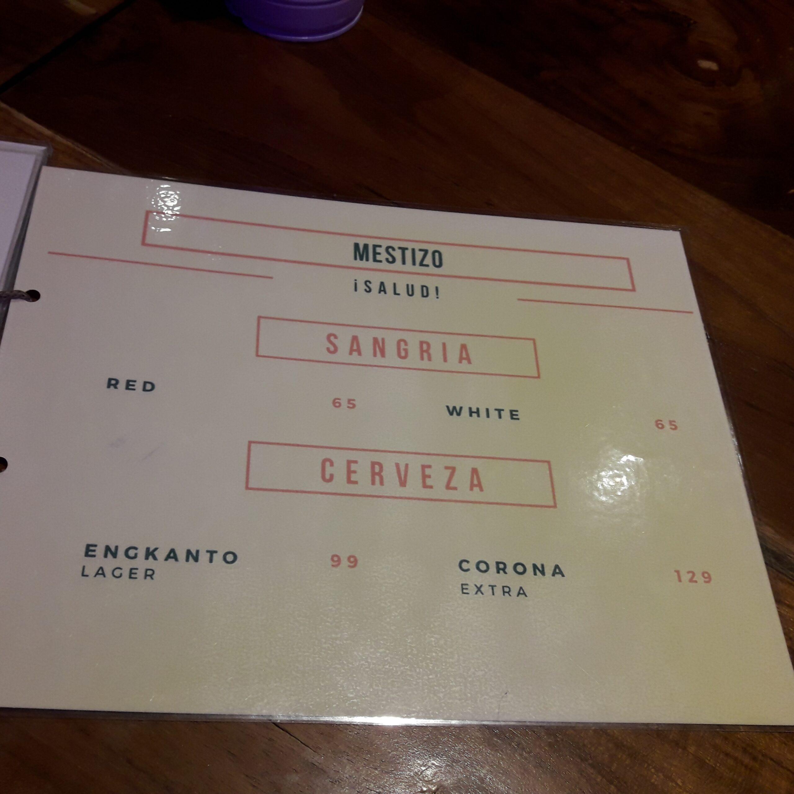 Mestizo menu sangria
