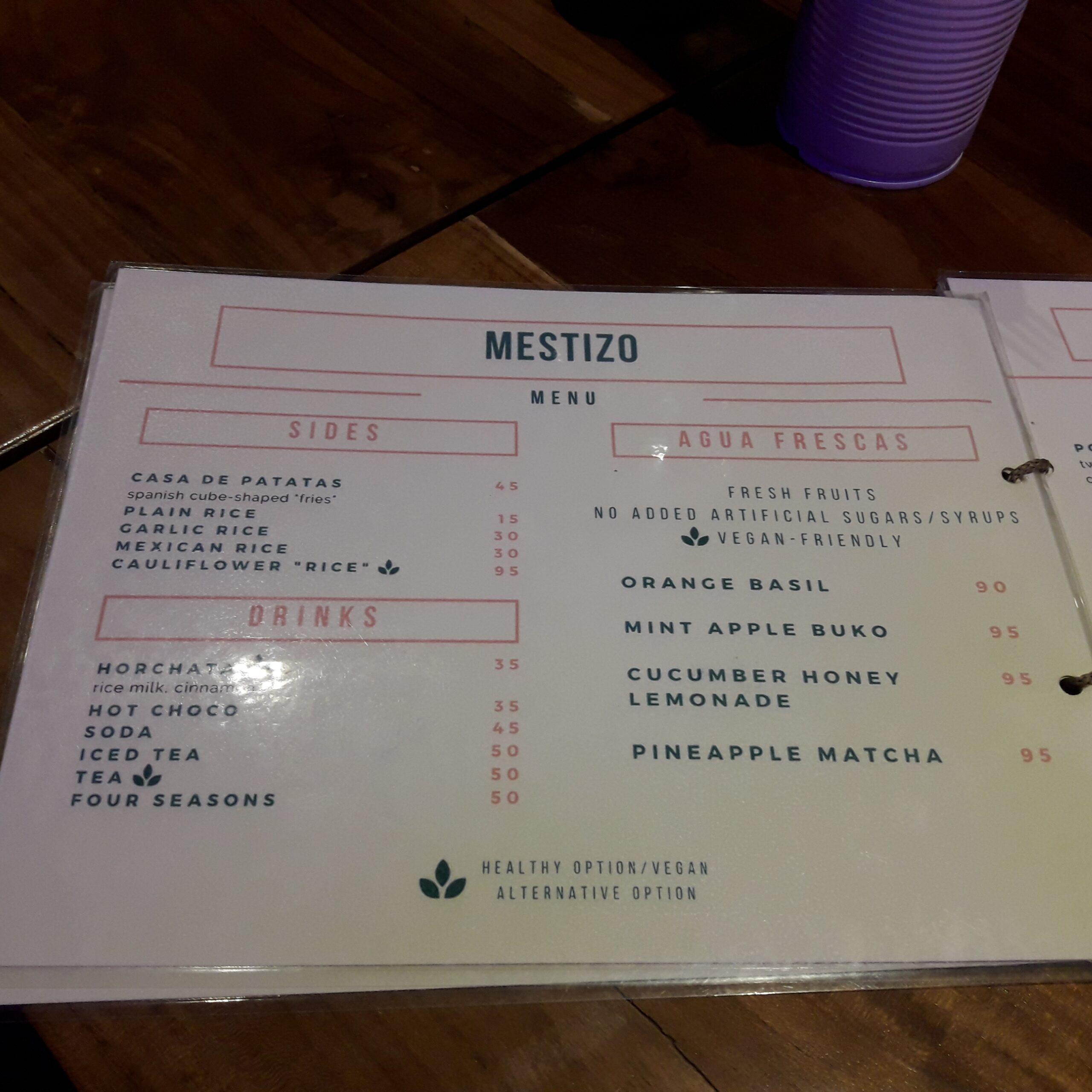 Mestizo menu sides