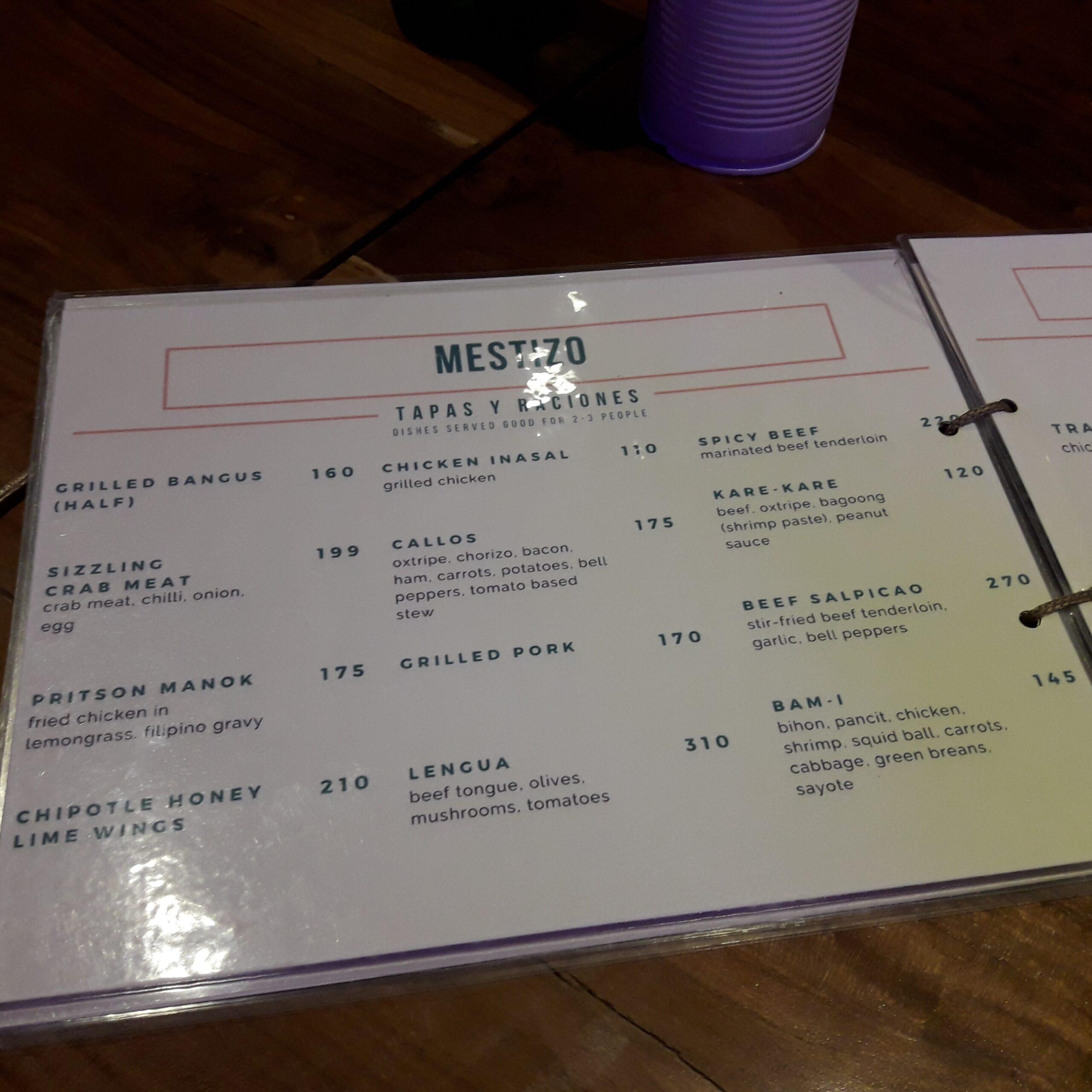 Mestizo menu tapa