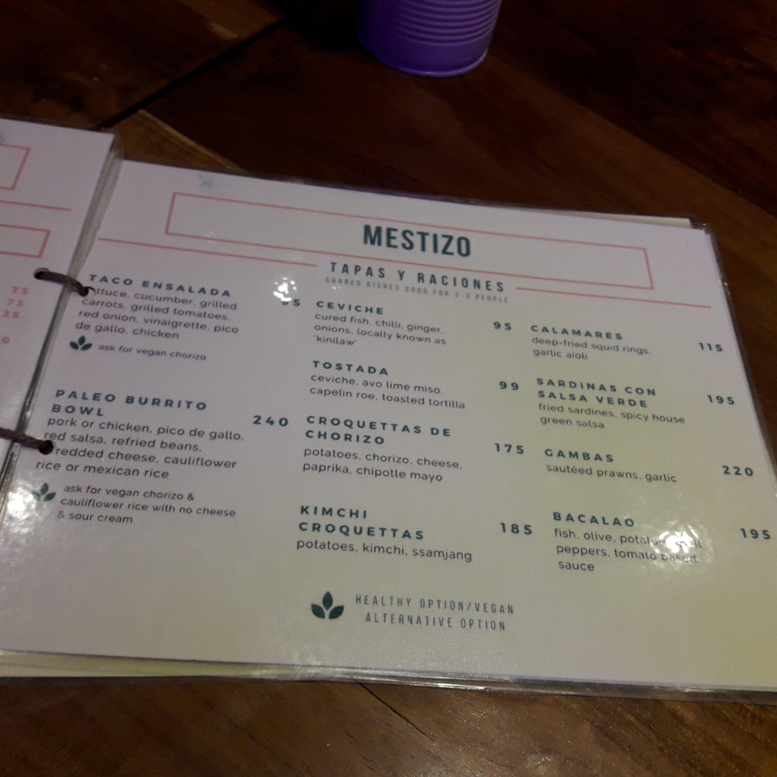 Mestizo menu tapa y raciones