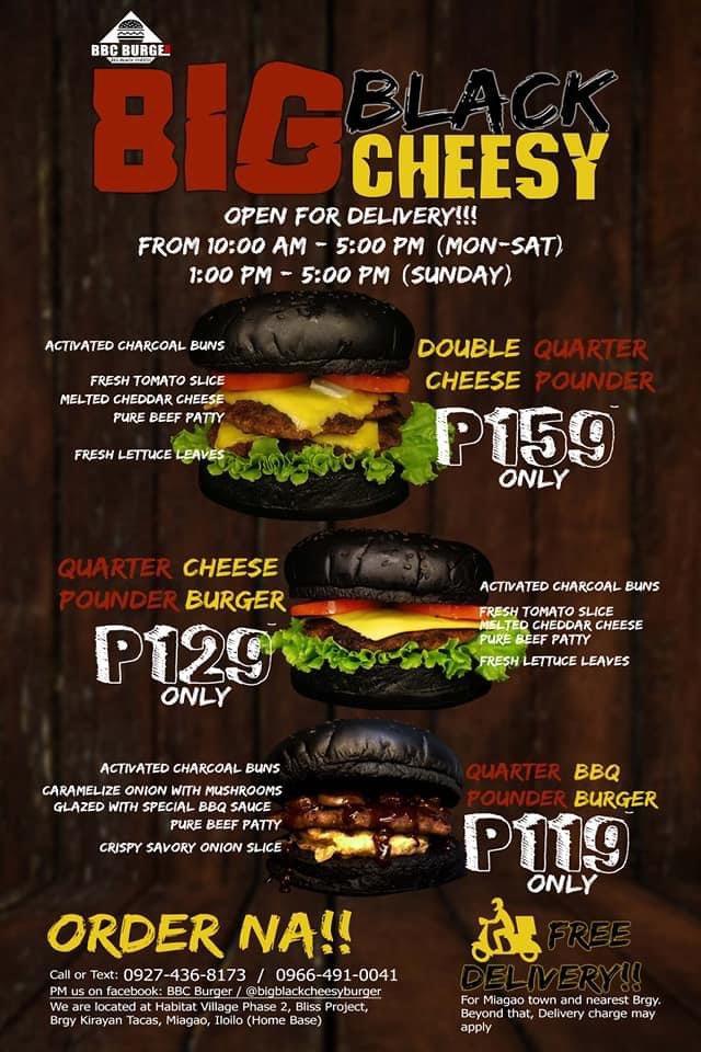 Big Black and Cheesy Burger Menu